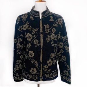 [Talbots] Wool Cardigan Floral Sweater - Large
